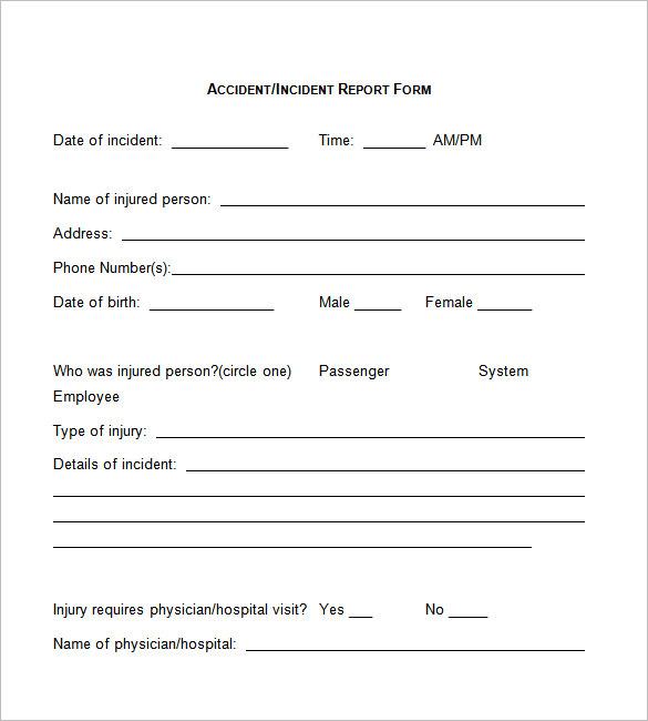 employee injury report form template employee report form