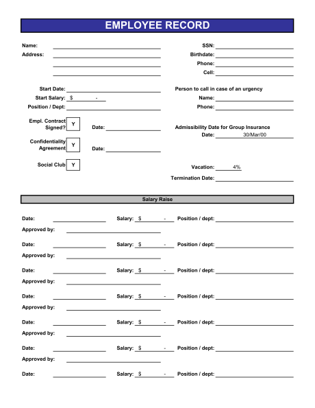 8+ Sample Employee Record Forms | Sample Templates
