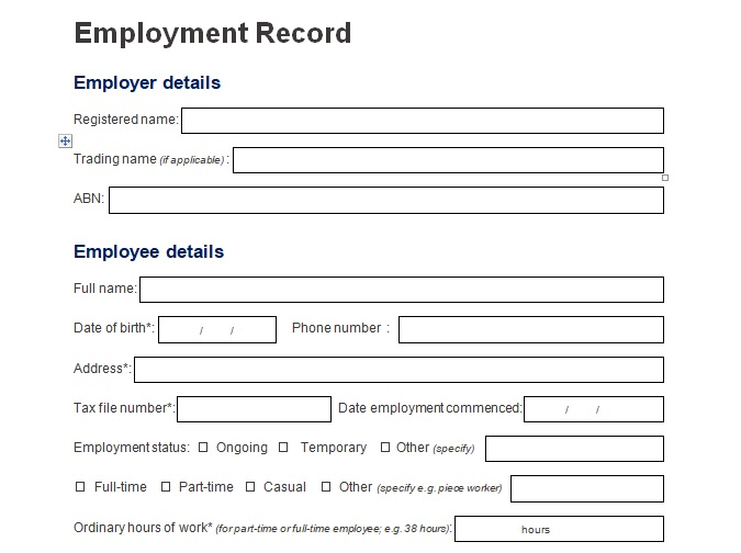 personnel record form template employee records forms