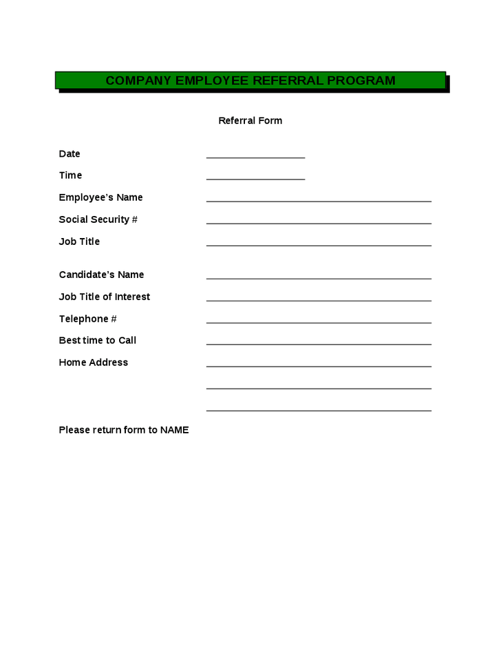 Employee Referral Form