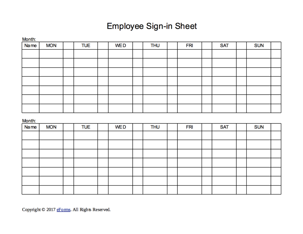 Sign In Sheet | Employee Sign In Sheet Charlotte Clergy Coalition