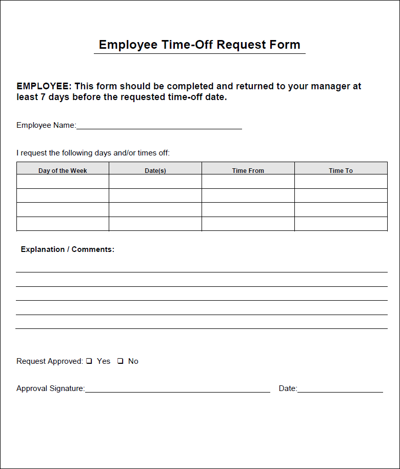 vacation form for employees