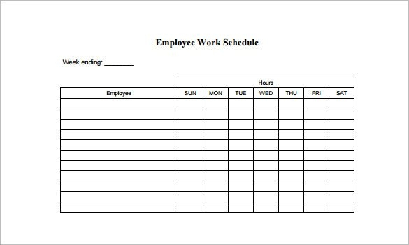 Employee work schedule template charlotte clergy coalition free work schedule templates for word and excel thecheapjerseys Images