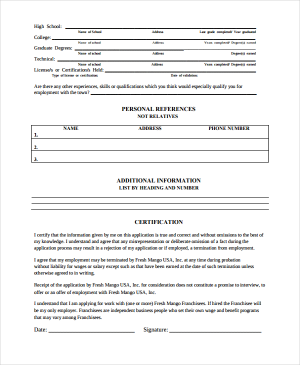 Employment History Form Template at wordtemplatesbundle.