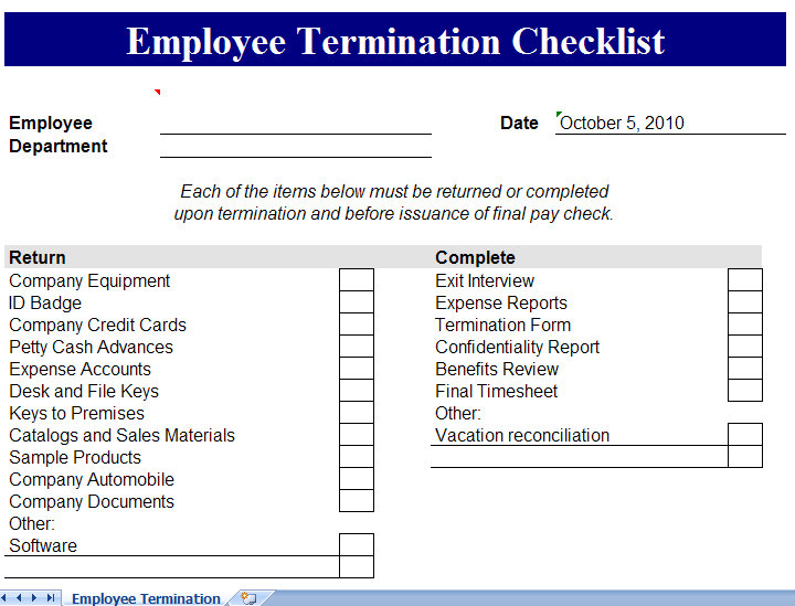 Termination Checklist Templates – 16+ Free Word, Excel, PDF