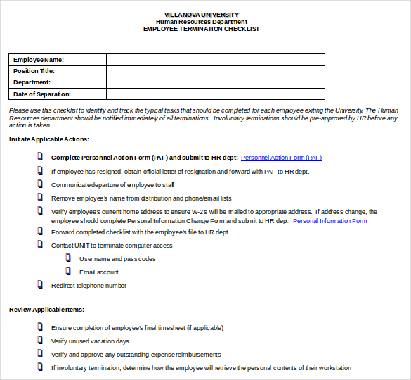 Employment Termination Checklist Template | charlotte clergy coalition
