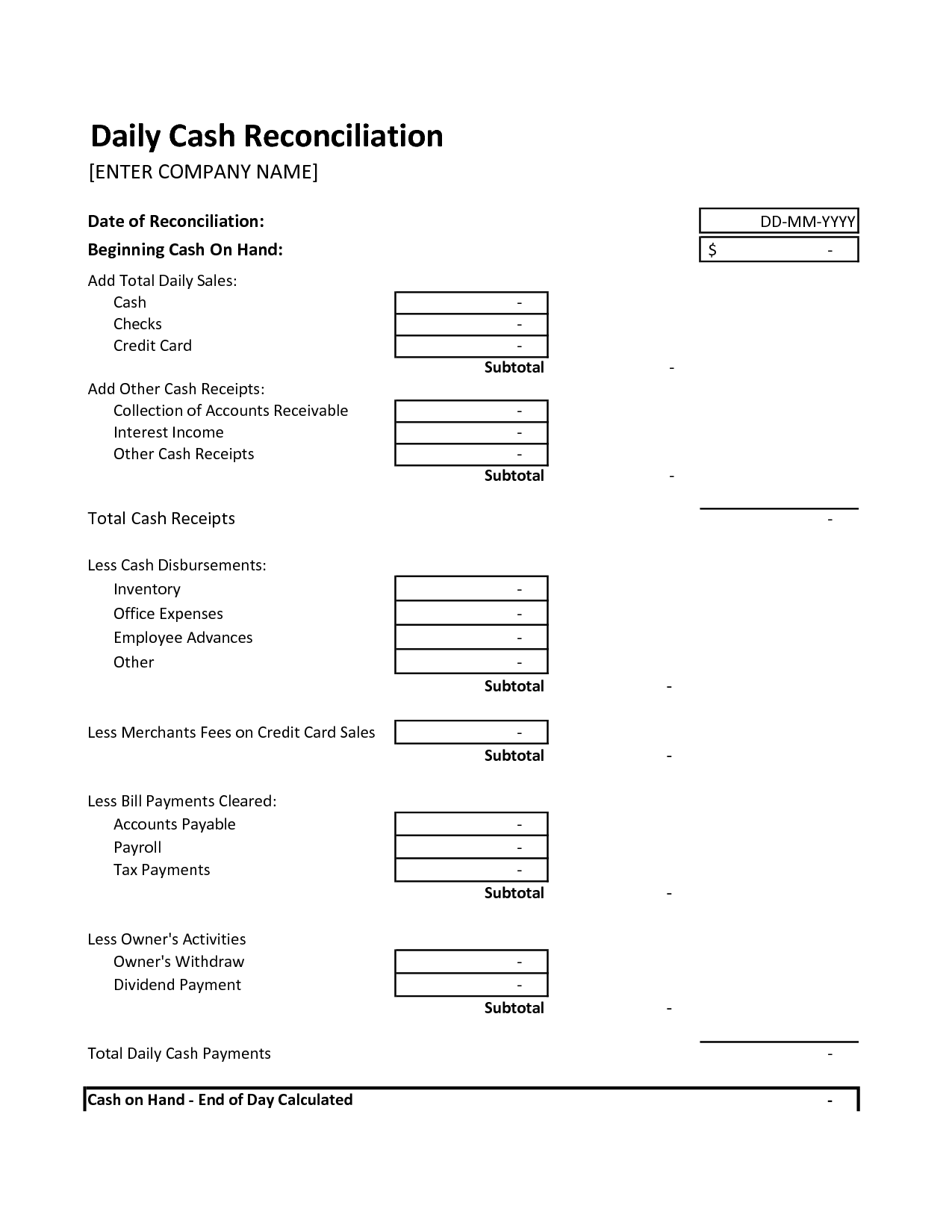 End Of Day Cash Register Report Template Charlotte