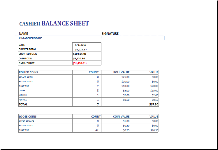Cashier Balance Sheet Template For Excel | Excel Templates with