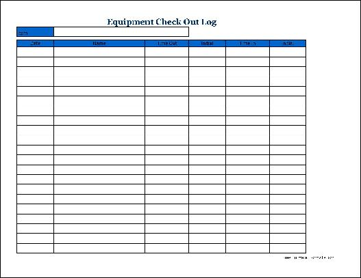 check out form template equipment checkout template