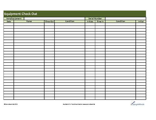 check out form template equipment checkout form template excel
