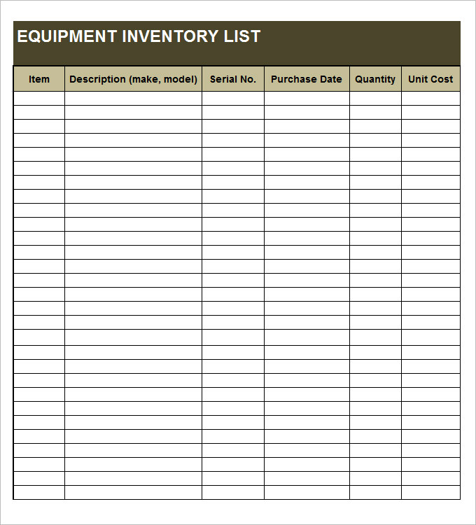 equipment inventory forms templates equipment inventory template