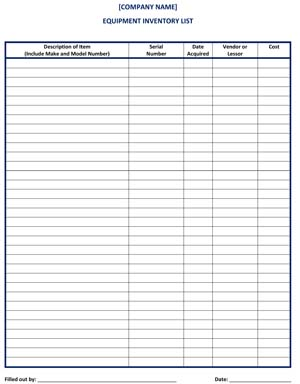 Checklist Equipment Inventory List   Template & Sample Form