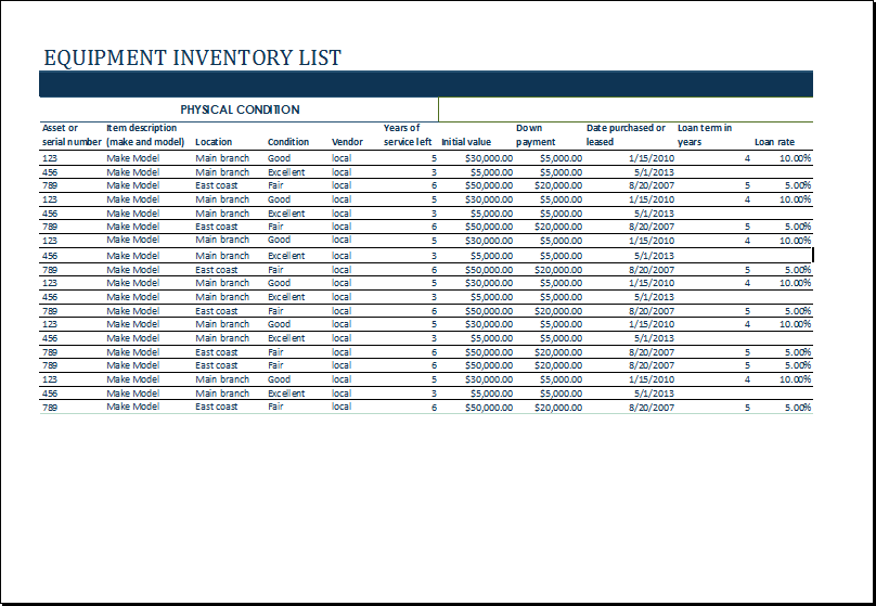 equipment inventory forms templates ms excel equipment inventory