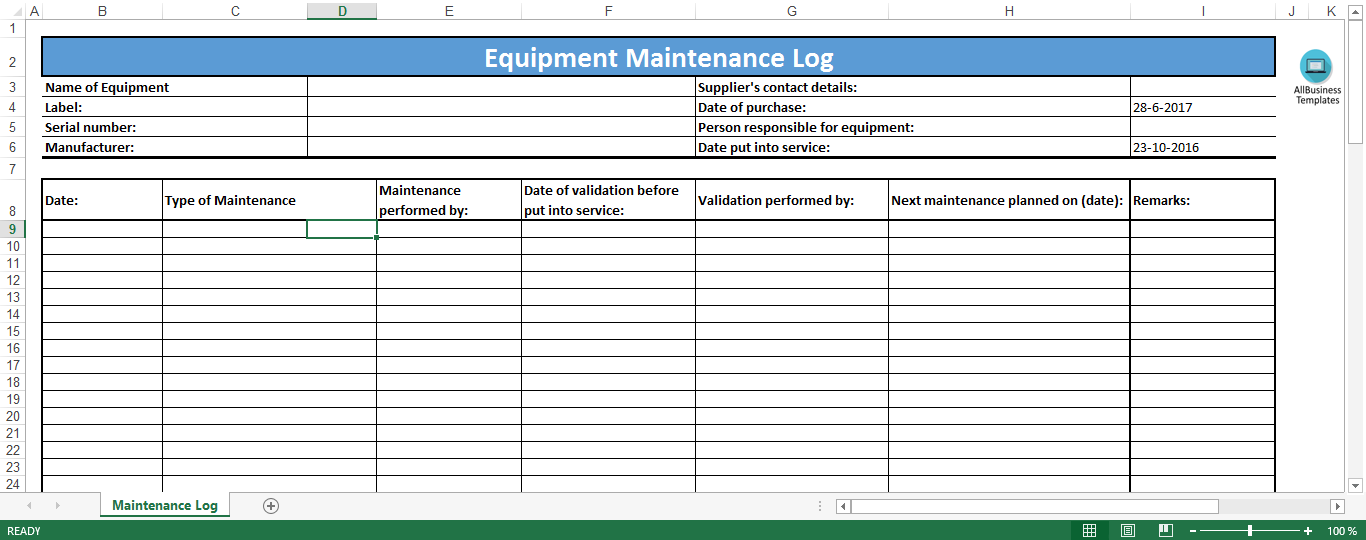 Free Equipment Maintenance Log Excel template | Templates at