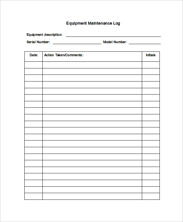 Maintenance Log Template   11+ Free Word, Excel, PDF Documents