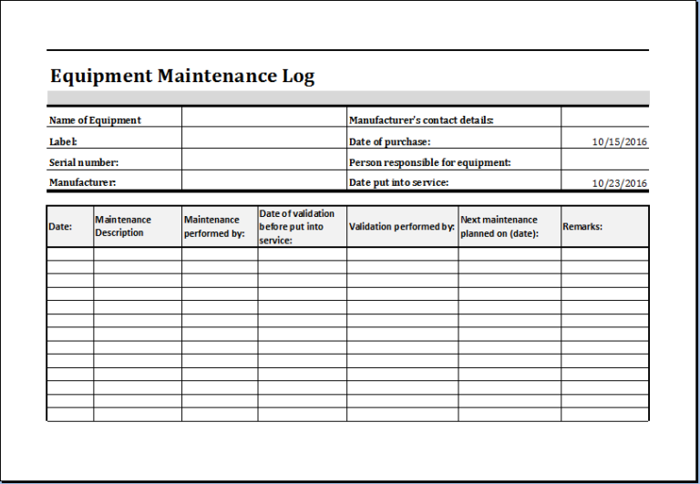 equipment maintenance log template excel charlotte clergy coalition. Black Bedroom Furniture Sets. Home Design Ideas