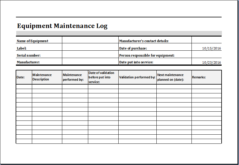 Equipment Maintenance Log Template MS Excel | Excel Templates