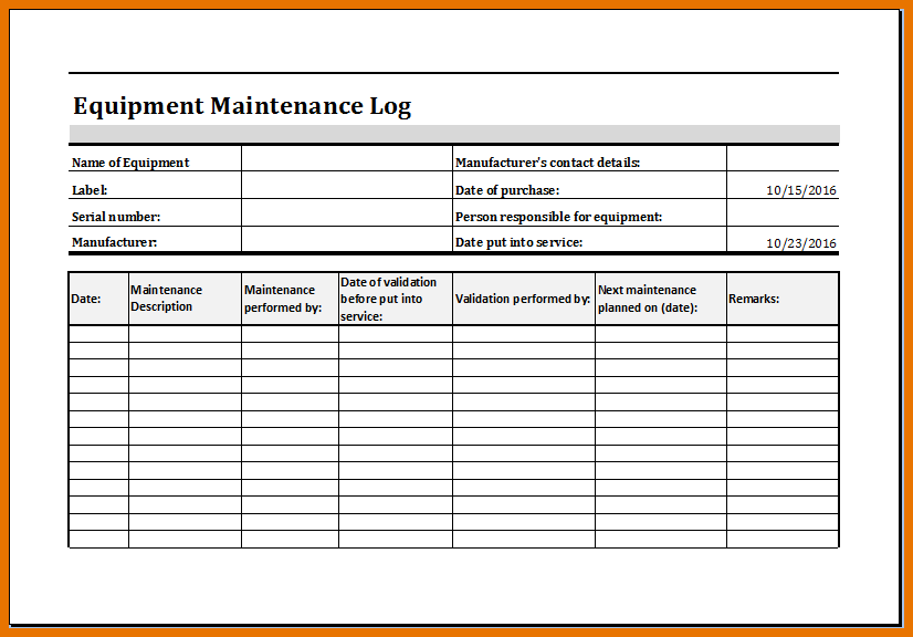 Equipment maintenance log template excel charlotte for Equipment log book template