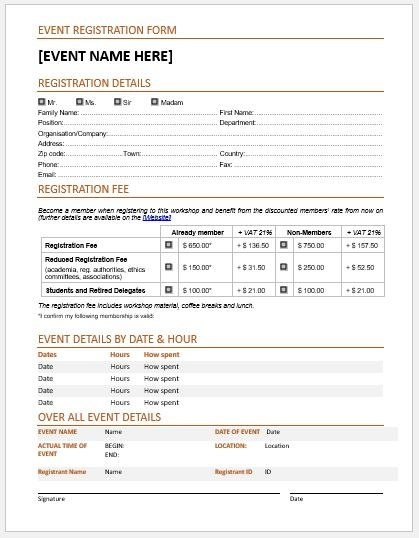 event application form template event registration form template