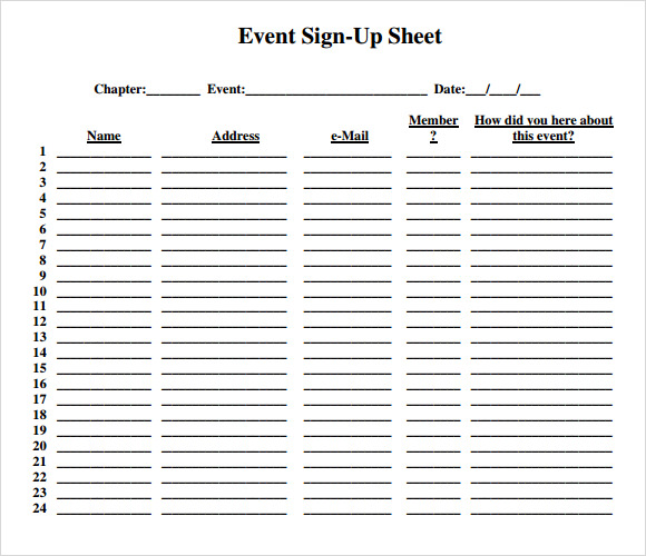 event sign up sheet template   Kleo.beachfix.co