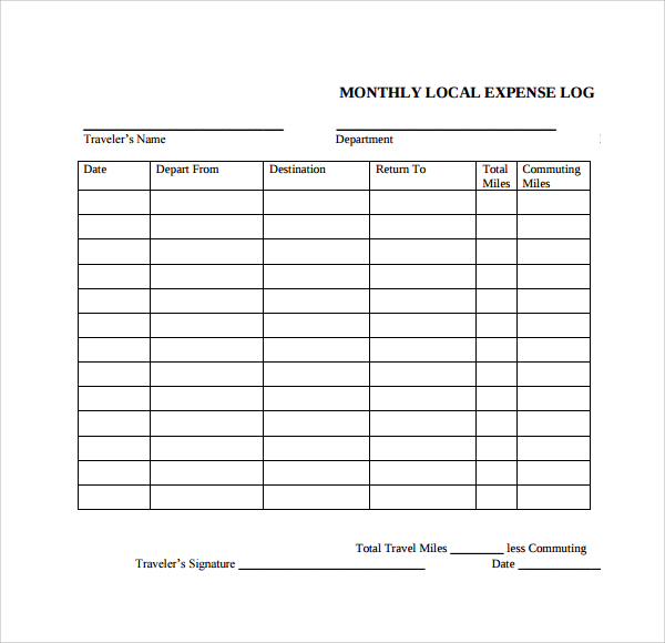 expenses log template   Kleo.beachfix.co