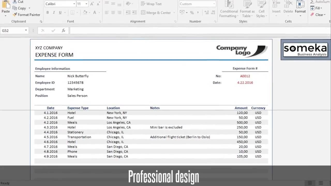 Expense Reimbursement Template Excel And Employee Expense Report