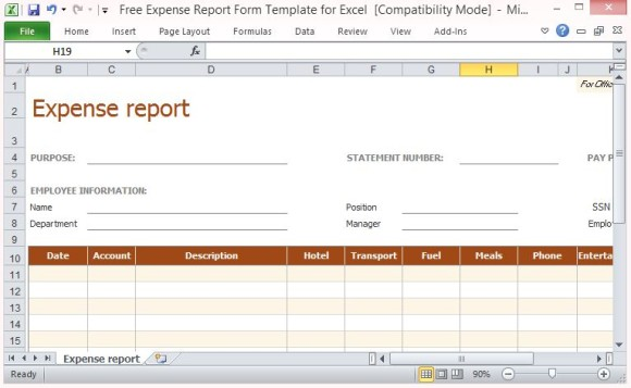 Expense report Excel