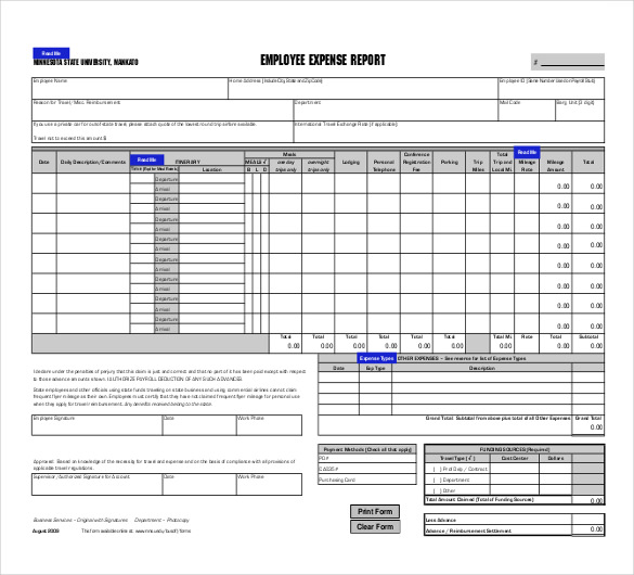 Free Excel Expense Report Template