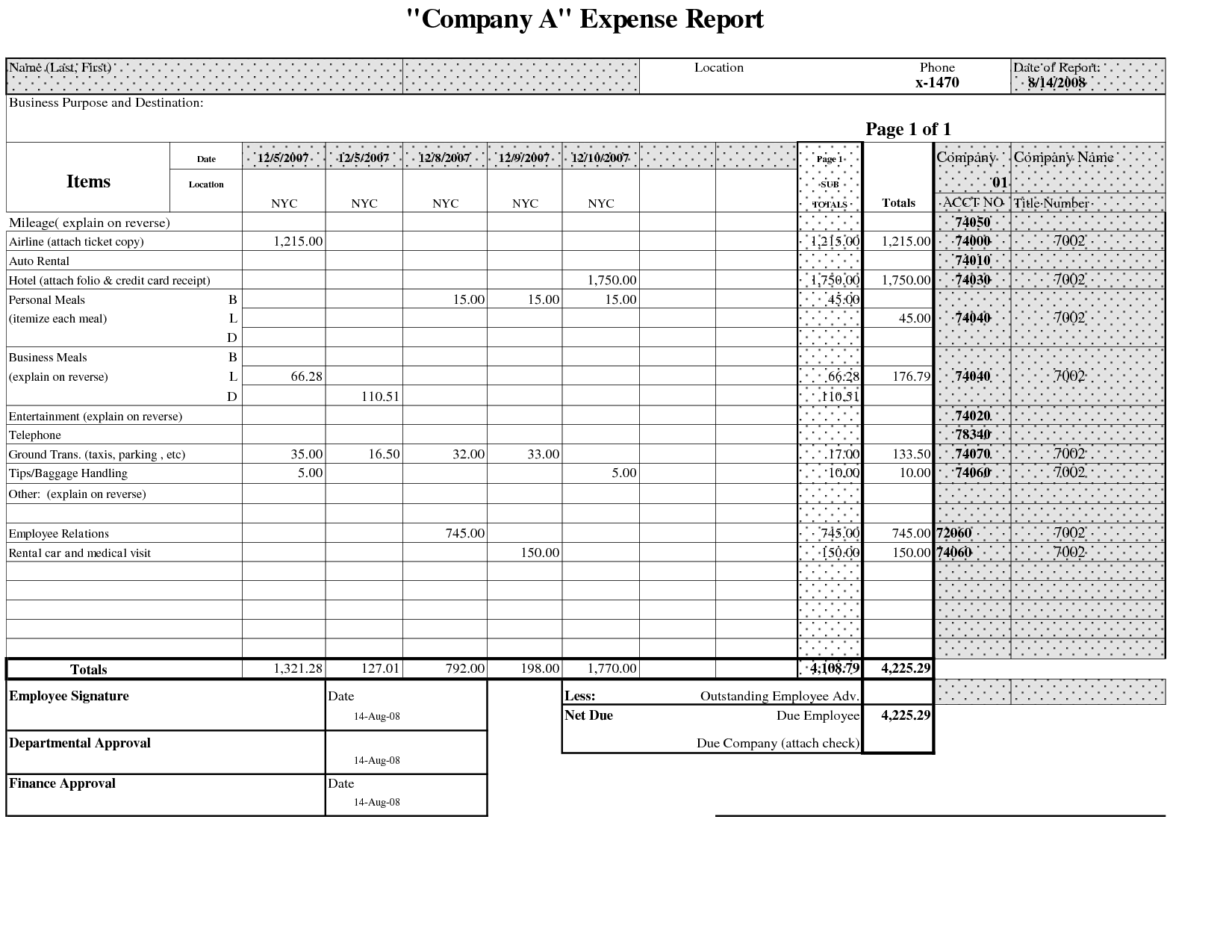 10 sample expense report forms sample templates