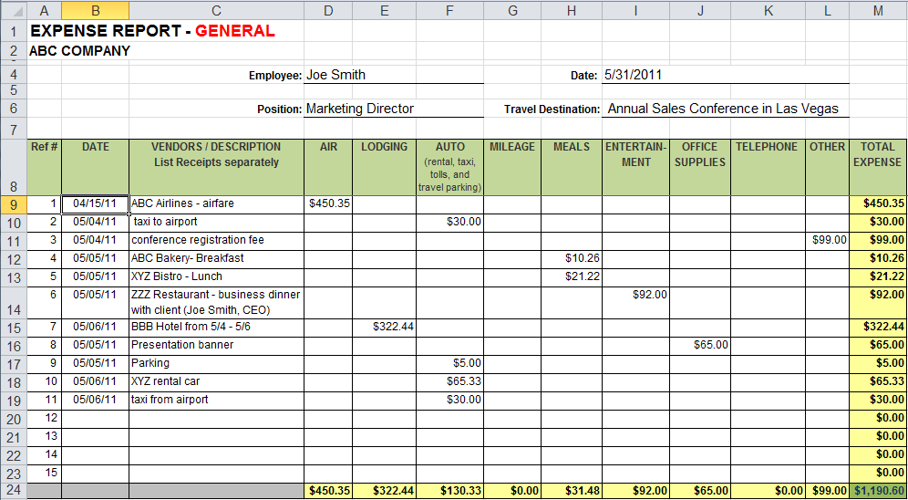 expense sheet sample   Gecce.tackletarts.co