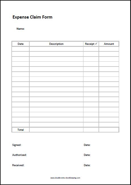 expenses form template business expense form template free