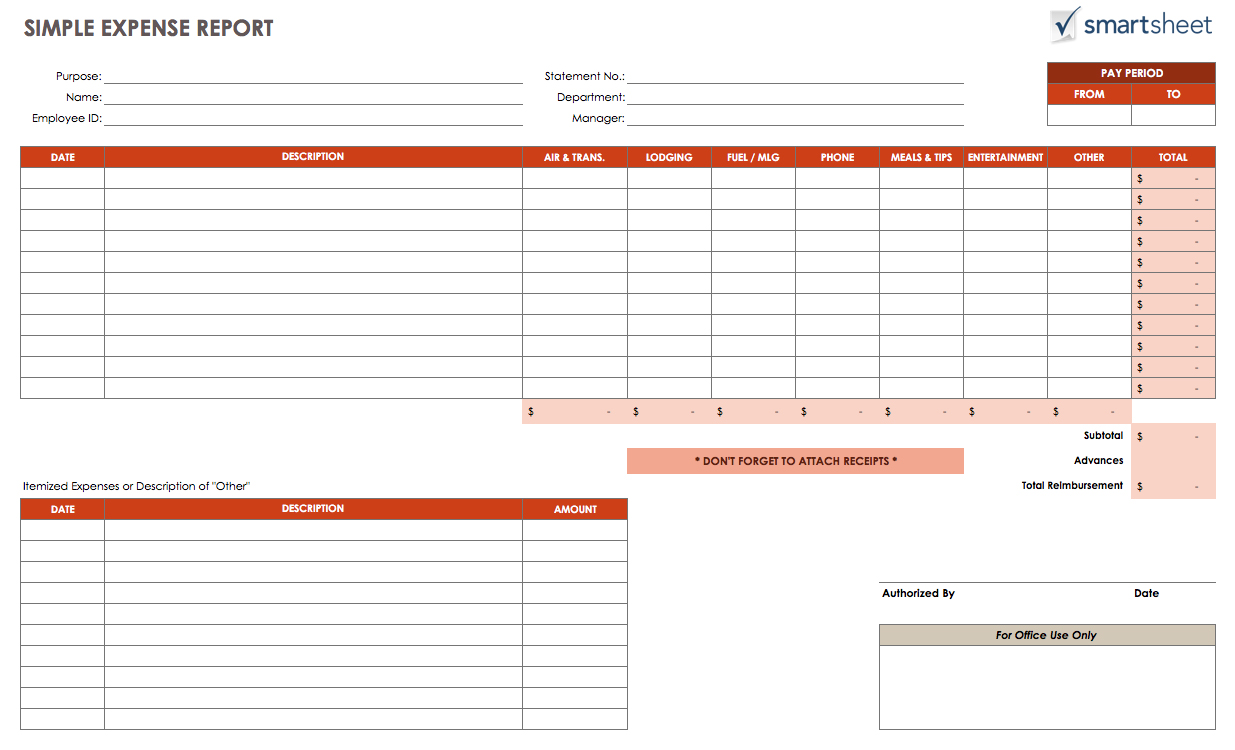 business expenses list template   Gecce.tackletarts.co
