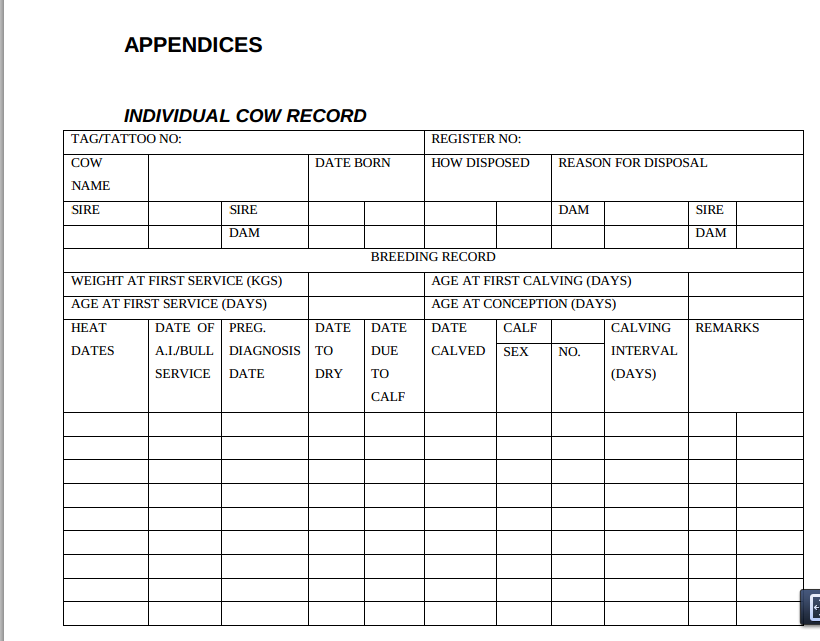 farm record keeping templates