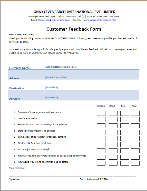 excel feedback form template   Kleo.beachfix.co