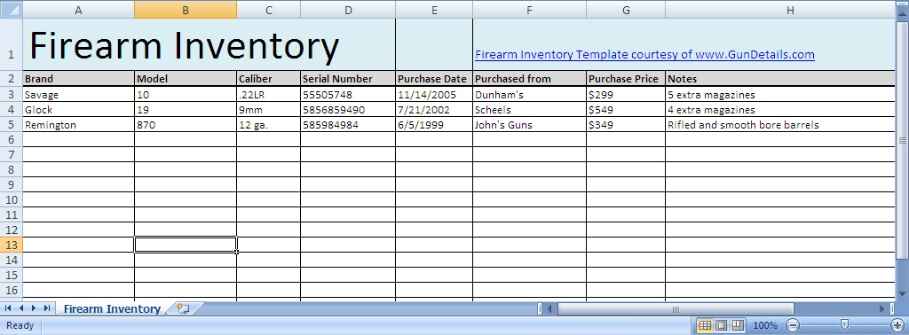 firearms inventory spreadsheet charlotte clergy coalition