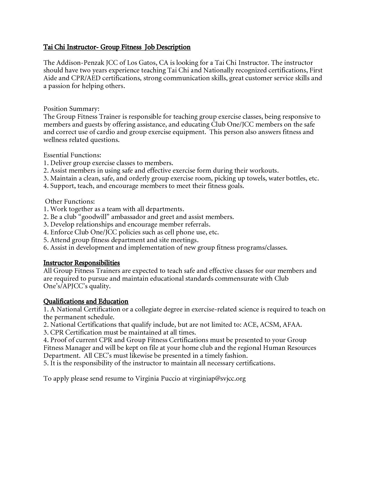 fitness instructor job descriptions