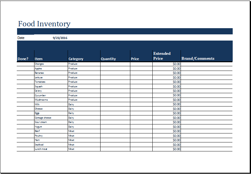 MS Excel Printable Food Inventory List Template   Excel Templates