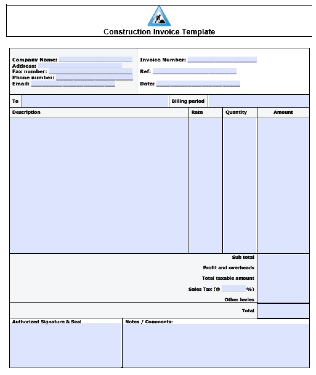 Free Construction Invoice Template | Excel | PDF | Word (.doc)