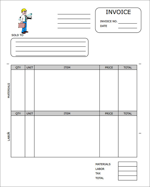 free construction invoice template  Free Construction Invoice Template | charlotte clergy coalition