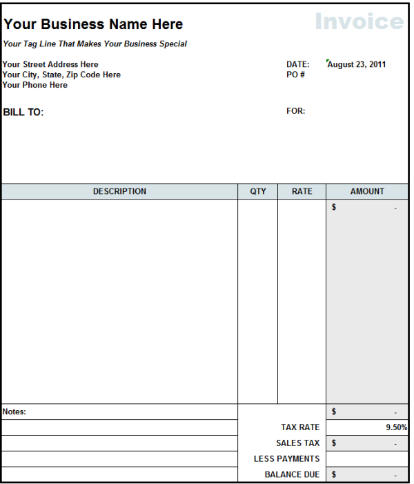 Free Construction Invoice Template Charlotte Clergy Coalition - Template for invoice free download