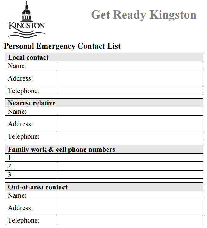 Free Contact List Template Charlotte Clergy Coalition