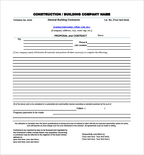 proposal for contract work template construction proposal