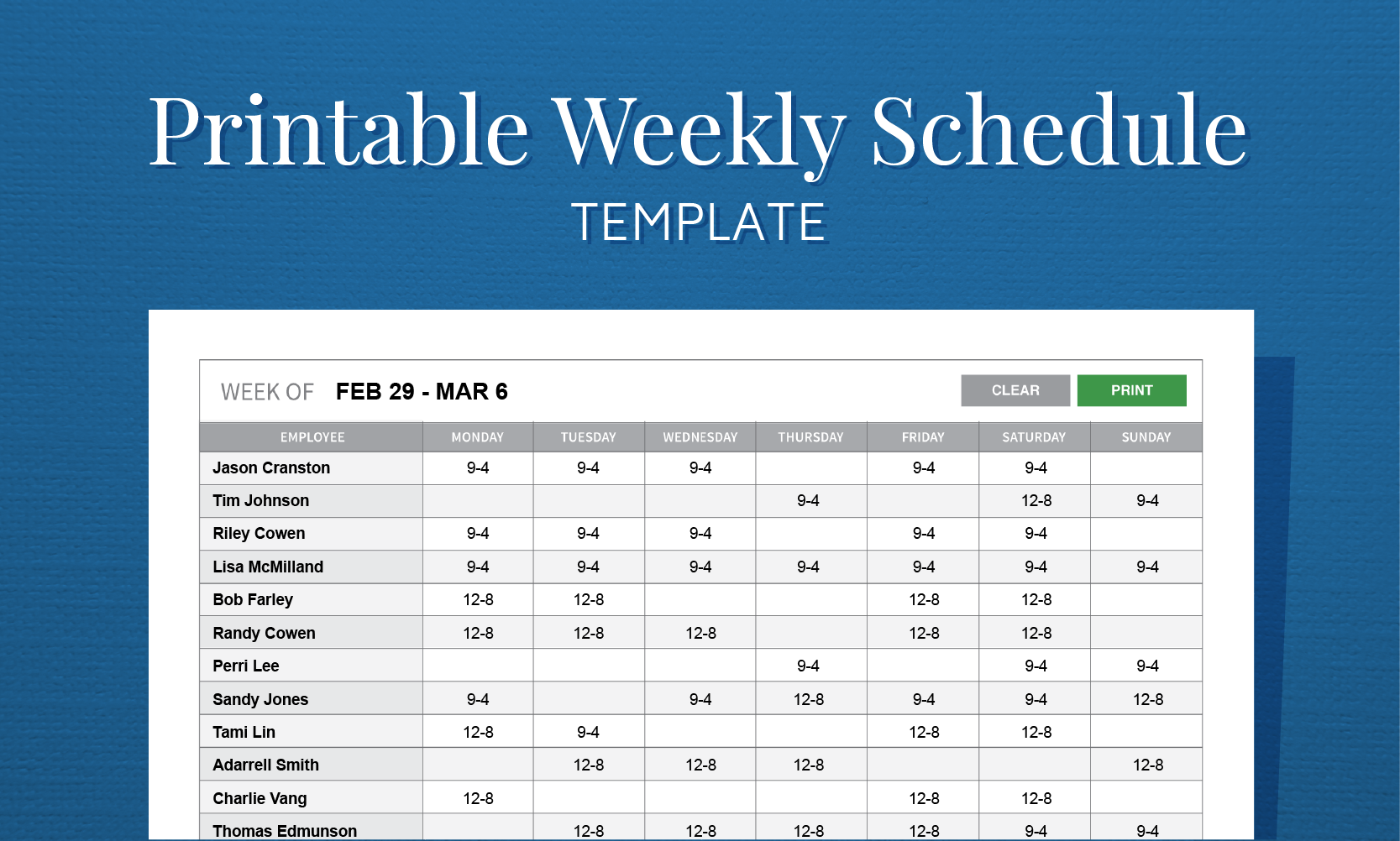 Free Employee Schedule Template | charlotte clergy coalition