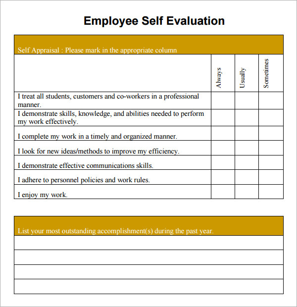 Free Essment Forms | Free Employee Self Evaluation Forms Printable Charlotte Clergy