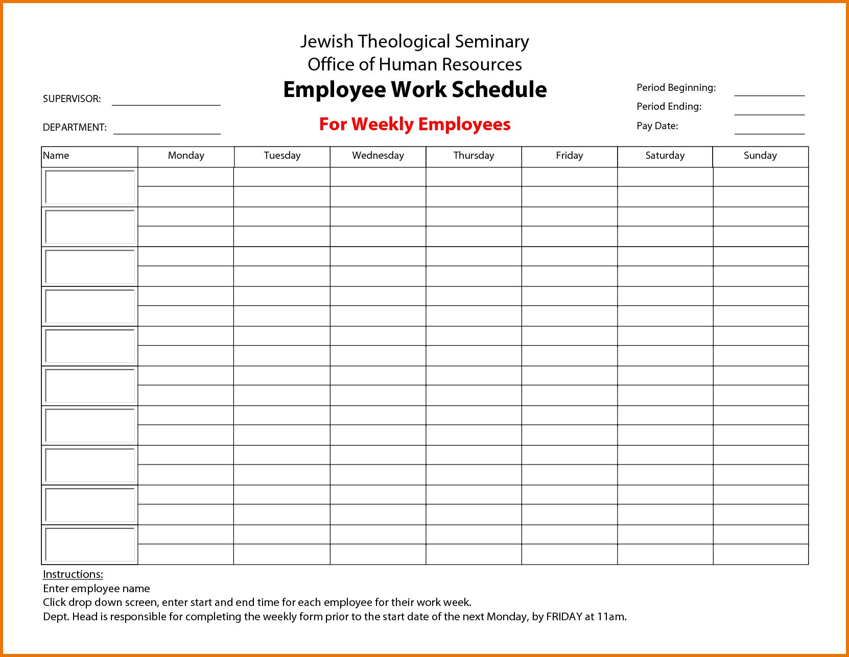 free employee work schedule template   April.onthemarch.co