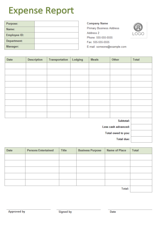 free expense report form template