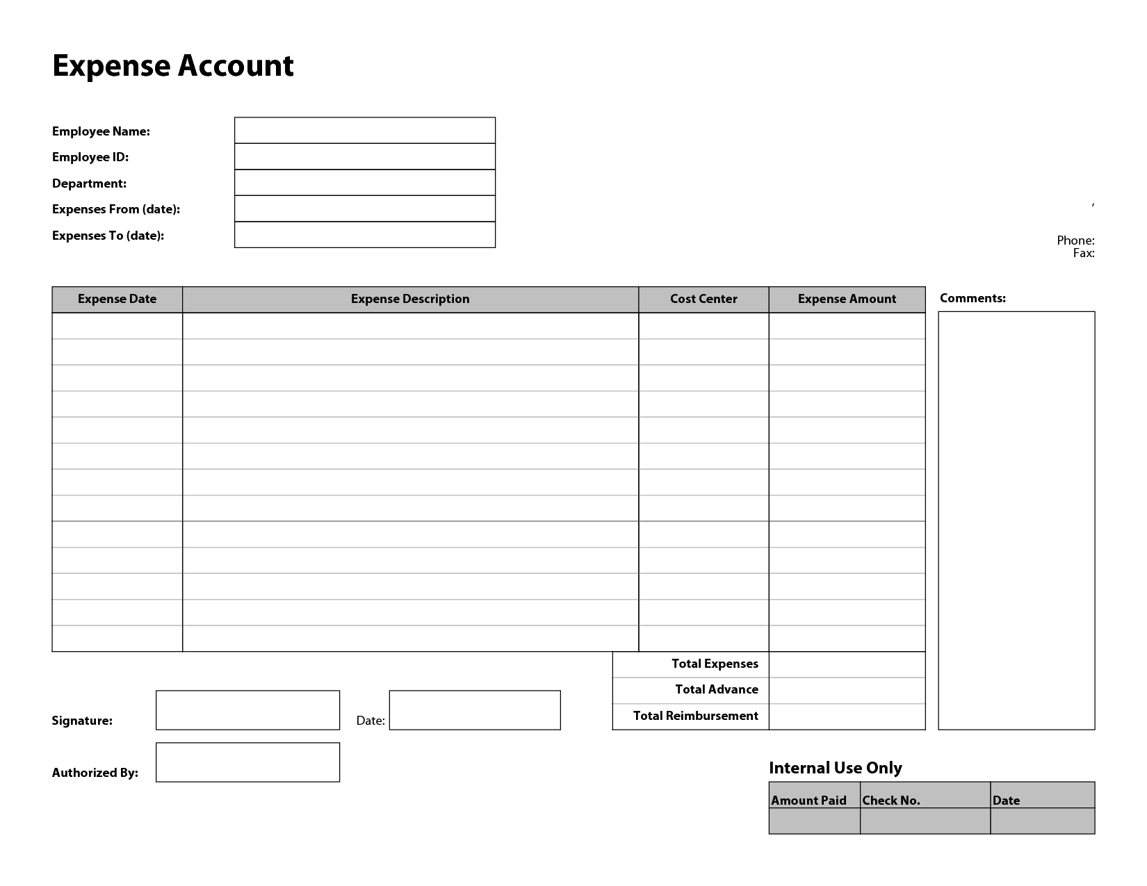 free expense report form charlotte clergy coalition