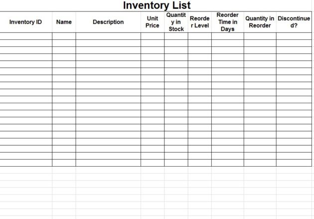Free Inventory Spreadsheet Template Charlotte Clergy Coalition - Spreadsheet samples free