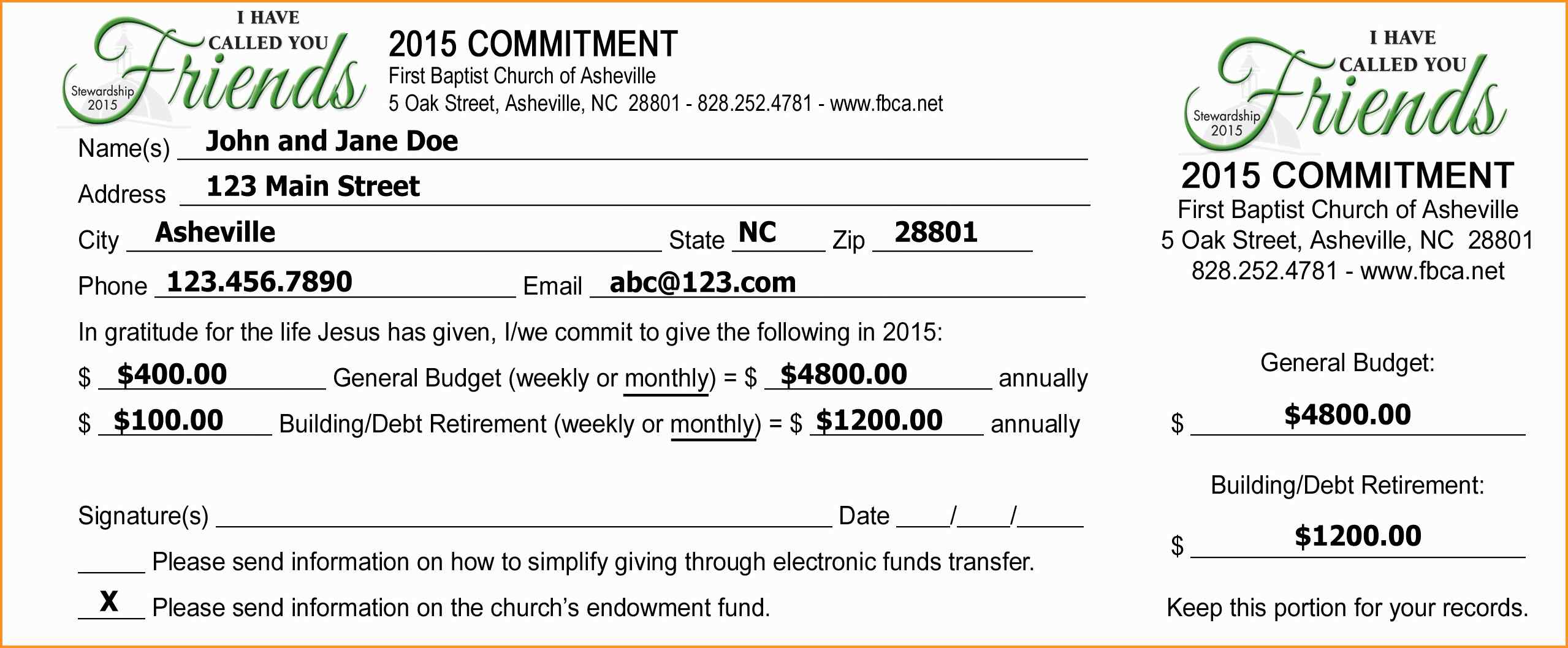 Free Pledge Card Template Charlotte Clergy Coalition