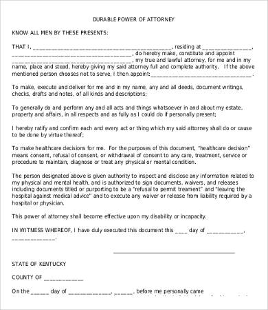 Power Of Attorney Form Free Printable   9+ Free Word, PDF